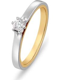 CHRIST Damen-Damenring 585er Weißgold, 585er Gelbgold 1 Diamant