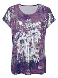 Tričko s květinovým potiskem vpředu