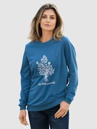 Sweat-shirt à imprimé floral placé