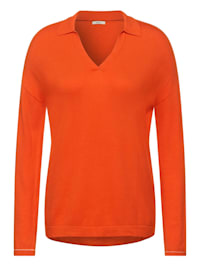 Pullover mit Polo Kragen