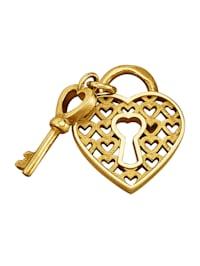 Hjärtformat hänge i guld 9 k