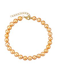Armband med guldfärgade, odlade sötvattenspärlor