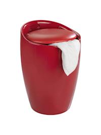 Hocker Candy Red, mit Wäschesack, Badhocker, mit abnehmbarem Wäschesammler