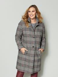 Manteau à carreaux à poches