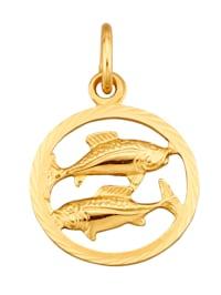 Sternzeichen-Anhänger Fische in Gelbgold 585