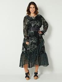 Maxi-jurk met volants met animalprint