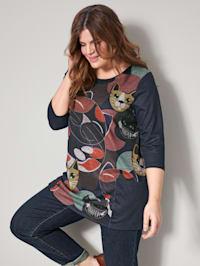 Shirt mit modischem Katzendruck