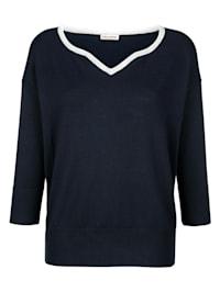 Pullover dezent mit Glanzgarn am Ausschnitt