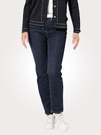 Jeans med skimrande glansgarn