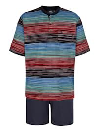 Pyjashort en matière thérmorégulatrice et rayures en tissé-teint