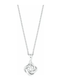 Kette mit Anhänger für Damen, Sterling Silber 925, Zirkonia Knoten
