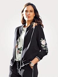 Sweat bunda s květinovou výšivkou