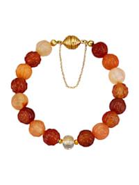 Armband med karneol, pyrit, bergkristall och bladguld