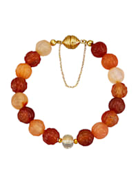 Carneol-Armband mit Pyrit, Bergkristall und Blattgold
