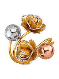 Blüten-Ring in Gelb-Weiß und Roségold 585 in Gelb-, Weiß- und Roségold 585