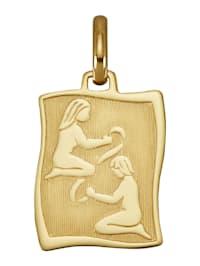 """Pendentif avec signe du zodiaque """"Gémeaux"""" en or jaune 585"""