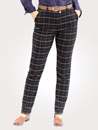 Trousers with a classic check pattern