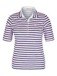 T-Shirt mit Streifenmuster und Polokragen