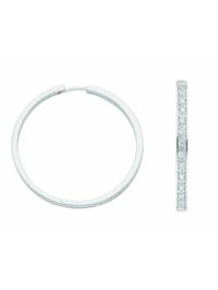 Damen Silberschmuck 925 Silber Ohrringe / Creolen mit Zirkonia Ø 37,5 mm