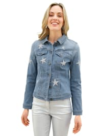 Jeansjakke med glitrende stener foran
