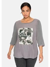 3/4-Arm-Shirt mit Frontdruck und Glitzersteinchen