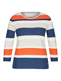 Pullover mit gestreiftem Muster und Rollsaum an den Ärmeln