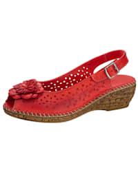 Wedge sandals with floral appliqué