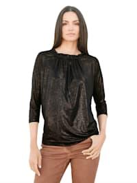 Shirt met bronskleurige glans