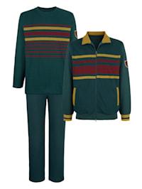 Fritidsdress i 3 delar med byxor, jacka och tröja