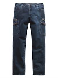 Jeans met knoop-/ritssluiting
