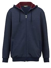 Sweat bunda s kapucí speciální střih