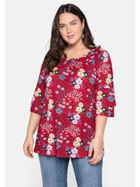 Shirt in A-Linie, mit Blumendruck und Volantärmeln