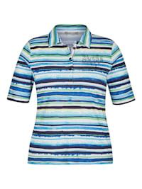 Shirt mit Strass-Steinen und Streifen-Muster