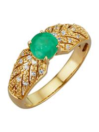 Damenring mit Smaragd und Saphir