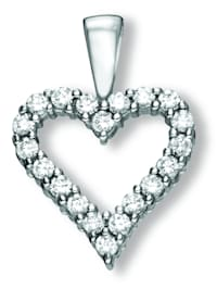 Damen Schmuck Herz Anhänger aus 925 Silber Zirkonia
