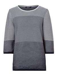 3/4 Arm-Pullover mit Strukturstreifen