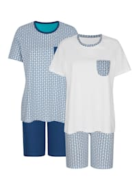 Pyjamas i 2-pack med kontasterande detaljer