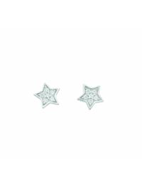 Damen Silberschmuck 925 Silber Ohrringe / Ohrstecker Stern mit Zirkonia