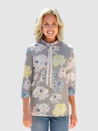 Sweatshirt med blomstermønster
