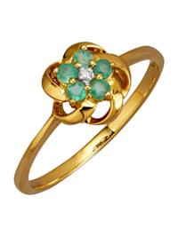 Kultainen smaragdisormus timantilla
