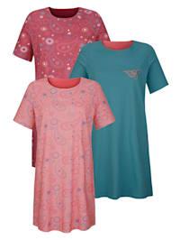 Nočná košeľa, 3 ks v obľúbenom mixe vzorov