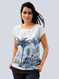 Strandbluse mit Palmendruck