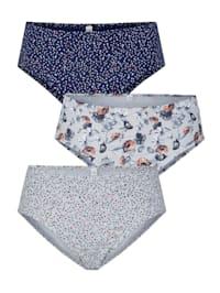 Kuviolliset alushousut, 3/pakkaus
