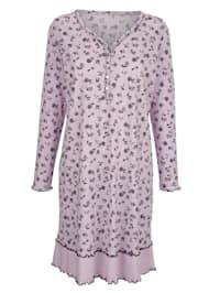 Nočná košeľa s dekoratívnym kontrastným šitím
