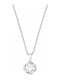 Ketten mit Anhänger für Damen, Sterling Silber 925, Zirkonia Blume