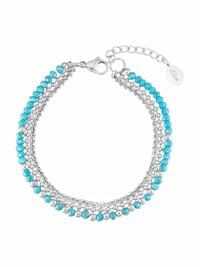 Armband für Damen, Edelstahl mit Glasperle türkis | Bracelet Bar