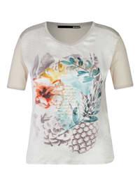 Shirt mit floralem Front-Print und Glitzerfäden