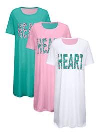 Nachthemden im 3er-Pack mit verlängertem Rückteil