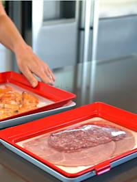 Genius Ideas Système de stockage des aliments frais 'Clever Tray' XL, rectangulaire 38 x 26 x 3 cm