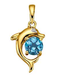 Hanger met blauwe topaas en diamant